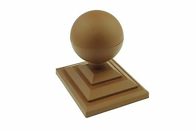 "4 x Dark Brown Sphere Round Top Fence Finial & 4"" x 3"" Fence Post Caps GT0060"