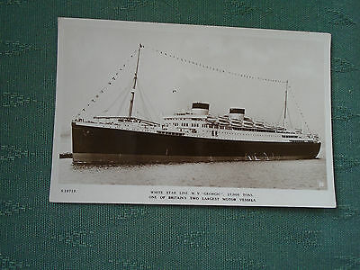 Vintage Mv Georgic - White Star Line Rp Postcard