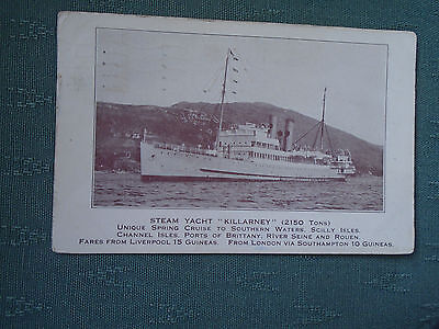 Vintage Steam Yacht Killarney - Shipping Postcard