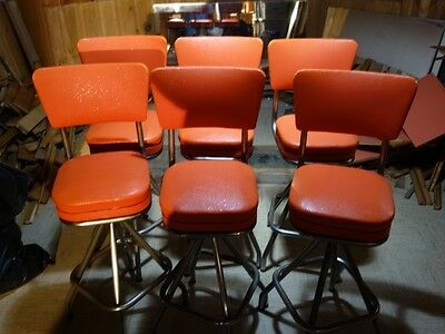 Bar Stool Set (6) Antique/Vintage Swivel 50's,60's Ice Cream Parlor Style.