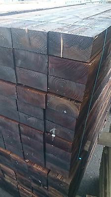 """Treated Tanalised 8"""" x 4""""inch eco Sleepers Tanalised - BROWN - 2.4m 200mmx100mm"""