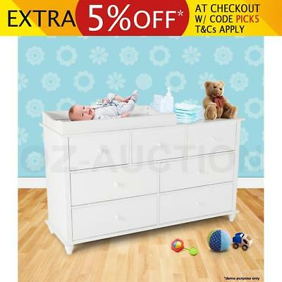 Baby Changing Change Table Changer Chest Cabinet Dresser with 7 Drawers-White