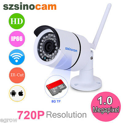 Telecamera Ip Camera Hd 720P Wireless Wlan Ir Motorizzata Wifi Rete Esterno 8Gb
