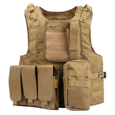 Military MOLLE Airsoft Combat Tactical Vest Army Hunting Paintball Carrier SWAT
