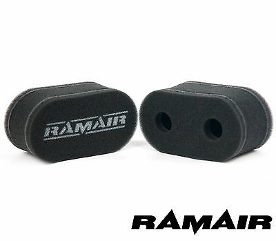2 x RAMAIR Carb Air Filters Twin Velocity Stack Weber DCOE Dellorto DHLA CS-901