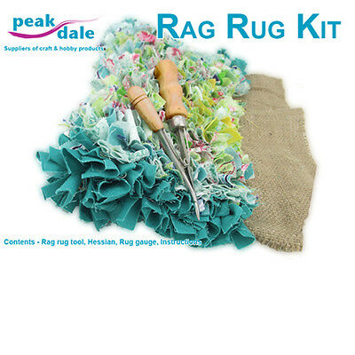 Peak dale - Rag rug making kit, tool, hessian, gauge and instructions RUGKIT