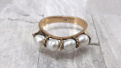 Genuine Pearl / 14KT Solid Yellow Gold Band Ring Size 6 ~ 4.1grams ~ CS-4619