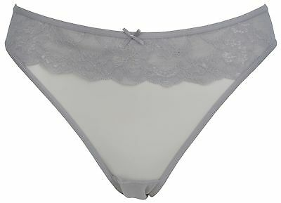 Ex Store Maternity Stretch Mesh & Lace Brazilian Knickers Grey
