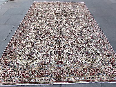 Old Traditional Hand Made Persian Rug Oriental Cream Wool Carpet Rug 325x250cm