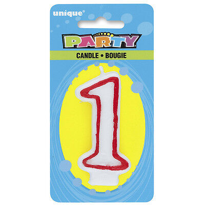 Deluxe Number 1 Candle 1St Birthday Party Cake Decoration White Red