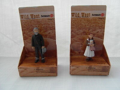 Schleich Wild West Lot 2 Figures Pvc Settler Father Girl New