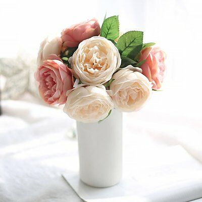 5 Heads Artificial Rose Flowers Wedding Bouquet For Party Home Decoration SXRAU