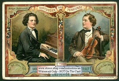 Musicians Wilhelmi Violin - Rubinstein Piano 1899 Trade Ad Card