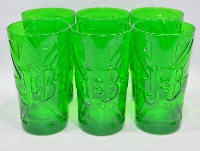 "J & B WHISKY 6 Verres 25 cl  ""London Union-Jack"" vert décor relief NEUF"