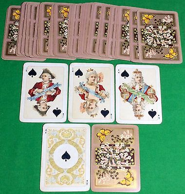 Antique 1890s Goodall ** HISTORIC ** ROYAL Playing Cards Butterflies + Flowers