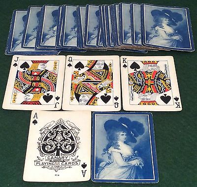 ANTIQUE c1910  CANARY PC  ** DUCHESS OF DEVONSHIRE **  WIDE PLAYING CARDS Blue