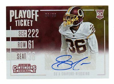 Su`a Cravens  Nfl 2016 Panini Contenders Playoff Ticket Autograph Rc  (Redskins)