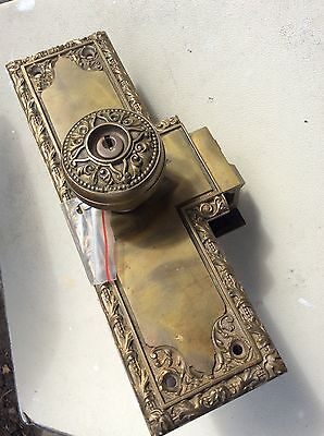Antique  Victorian Bronze Entry Door Lock unit    set with 2 knobs