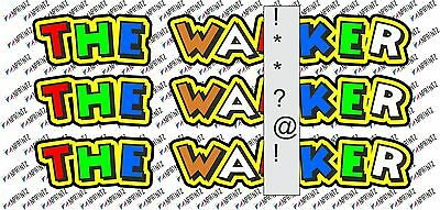 """Valentino Rossi style text - """"THE WANXER""""  !! x3  stickers / decals  - 5in x 1in"""