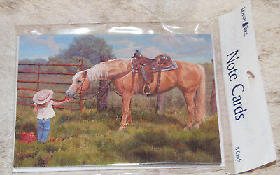 LEANIN TREE Little Girl Offering her Horse an Apple #35979 ~ 8 Notecards ~