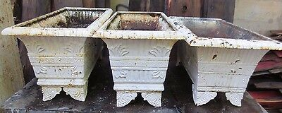 THREE ANTIQUE CAST IRON PLANTERS $249.00 EACH PLANTER please read listing