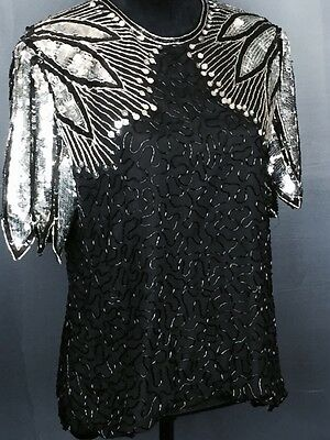 Vtg 80s Sequin Party Disco Glam Shirt Silver Black Size Large