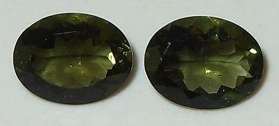 2.78ct Pair Faceted TOP QUALITY Natural Czechoslovakia Moldavite Oval Cut 9x7mm