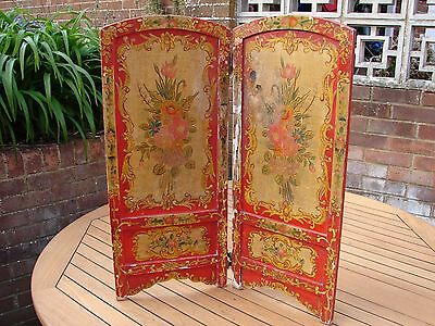 Gypsy Painted Screen Fire Traveller Circus Barge Vintage Hand Painted Wood GSP