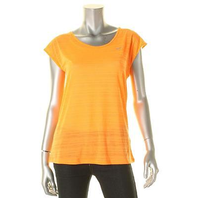 Nike 3560 Womens Orange Dri-Fit Shadow Stripe Sheer T-Shirt Top M BHFO