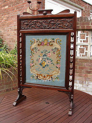 """Victorian Fire Screen & Tapestry Insert Large Grand Fireplace 47"""" High UK Ship"""
