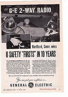 1949 General Electric '2-Way Radio Harford, Conn Fire Department Print Advert