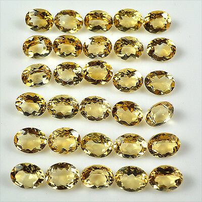 Calibrated 71+Ct Natural Golden Yellow Citrine Oval Faceted Cut Gems Lot-10x8mm
