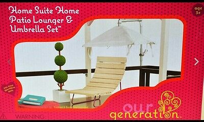 Our Generation patio lounger and umbrella set, fits American Girl dolls