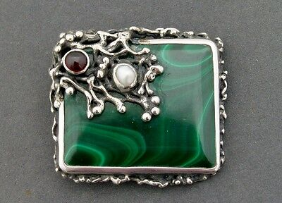 Superb Modernist Silver Malachite Brooch Baroque Pearl & Garnet Poland