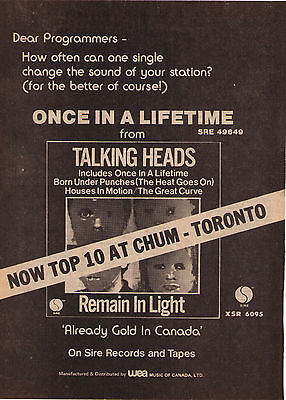 """1980 Talking Heads """"Remain In Light"""" Vintage Canadian Trade Print Ad"""
