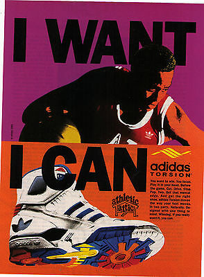 "1989 Adidas Torsion ""I Want I Can"" Basketball Shoe Vintage Print Advertisement"