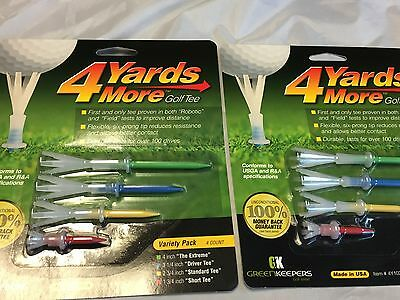 2 Packs of 4 Yards More Golf Tees by Green Keepers - Variety Pack - (8 Tees)