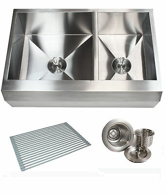 """33"""" Stainless Steel Arrow Front Style Farm House Apron Kitchen Sink Double Bowl"""