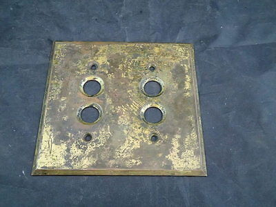 Vintage Antique Brass Electric Push Button Switch Plate Cover 2 Gang Double
