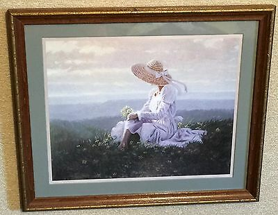 Homco Home Interiors Picture Artist: BK Greene Victorian Lady Sitting in Grass