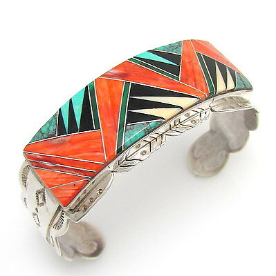 Excellent Navajo Sterling Silver Mosaic Multi-Stone Inlay Cuff Bracelet  | G TX