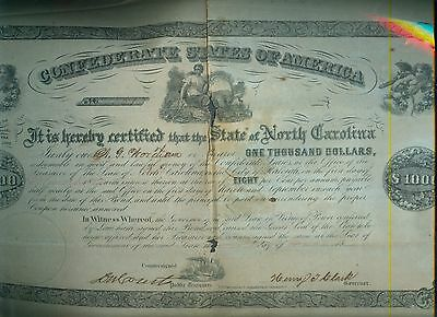 1862 Act Feb 17, $1000 Confederate States America Bond W/ 35 Bonds Of $40 Each