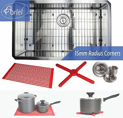 "Ariel 32"" 15mm Radius Square Stainless Steel Single Bowl Kitchen Sink Combo 16G"