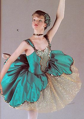Vintage Wolff Fording Ballet costume 14C Nylon Net Satinette Jade and Gold Lace