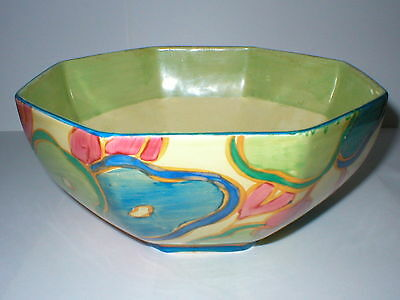 Clarice Cliff Bizarre Fantasque Deco Octagonal Bowl Blue Chintz Newport Pottery