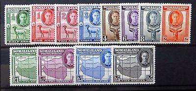 SOMALILAND 1942 G.VI Complete to 5R SG105/116 Mounted Mint NB1195
