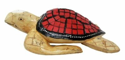 "Balinese Wood Handicrafts Ocean Turtle With Painted Glass Shell Figurine 10""L"