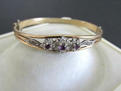 Antique Vintage 10 Ct Rolled Gold & Amethysts Stones Solid Bangle Bracelet