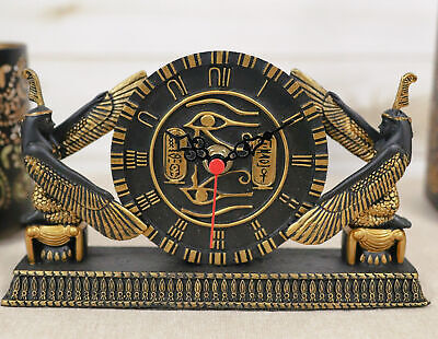 Classical Egypt Kneeling Goddess Isis Maat & Eye Of Horus Table Clock Figurine
