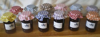 gingham jam jar covers 9 colour avalible  FREE BANDS  packs of 10 / 20 / 30